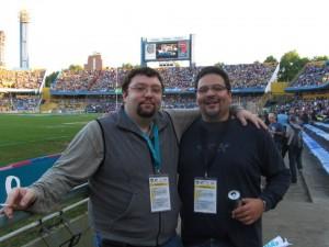 Cada partido era un encuentro con colegas periodistas de otros medios, acá con Diego Esper de Scrum 5