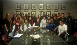 Las integrantes del rugby femenino en la presentación. (Foto: Prensa URT)