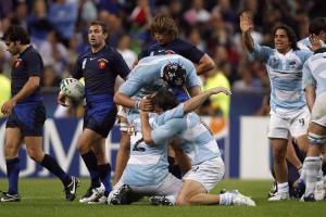El festejo alocado del equipo albiceleste al vencer a Francia en 2007.