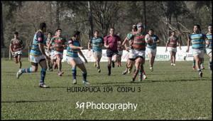 Rumbo al try. Huirapuca goleó a COIPU y se quedó con el segundo puesto del Regional. (Foto: Sergio Herrera)
